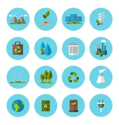 Ecology Icon Flat Set vector image