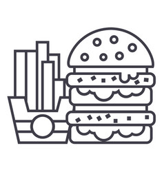 fast foodburger and fries line icon sign vector image