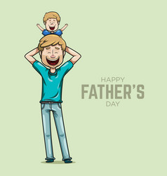 father carrying his son on shoulders vector image