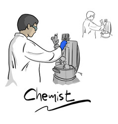female chemist working with equipment in vector image