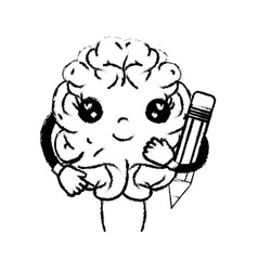 Figure kawaii happy brain with pencil tool vector