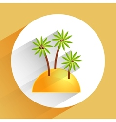 Flat icon of palm tree on sand beach vector