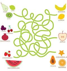 fruit labyrinth game for Preschool Children vector image vector image