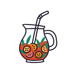 Glass jug with fruit lemonade red drink with mint vector