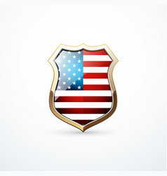 gold shield with usa flag elements vector image