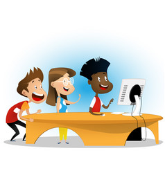 Group of elementary school students vector