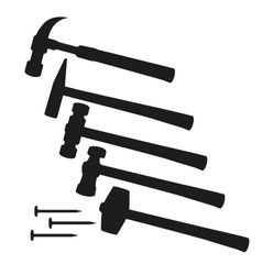 Hammer and nails hammer tool Set of different vector