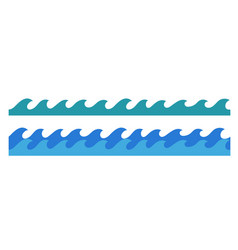 Hand drawn ocean waves endless border vector