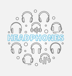 Headphones circular outline concept vector