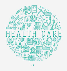 health care concept in circle with thin line vector image