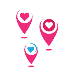 Heart and pin pointer love place logo location vector