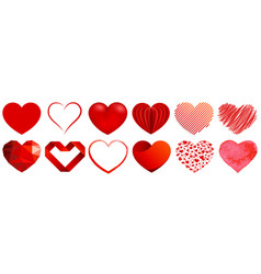 heart shapes in different styles vector image