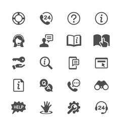 help and support glyph icons vector image