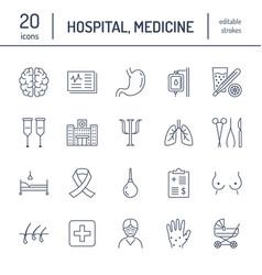 Hospital medical flat line icons human organs vector