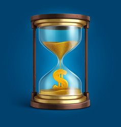 hourglass with flowing sand and dollar currency vector image