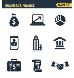 Icons set premium quality of business economic vector image