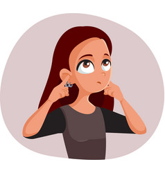 Indifferent teen girl covering her ears vector