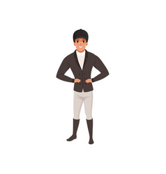 Jockey man in black costume equestrian vector