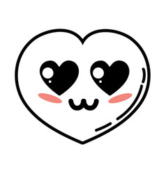 Kawaii cute tender heart love vector