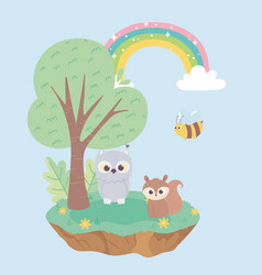 little squirrel owl and bee animals flowers tree vector image