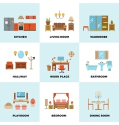 Living room bedroom kitchen kids bathroom vector image vector image