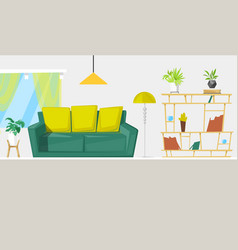 living room interior design with furniture cartoon vector image
