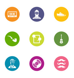 longhair icons set flat style vector image