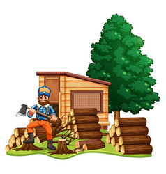 Lumber jack chops woods vector