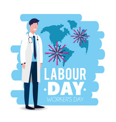 Man doctor with uniform to labour day vector