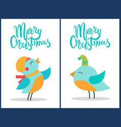 Merry christmas birds titles vector