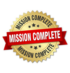 Mission complete 3d gold badge with red ribbon vector