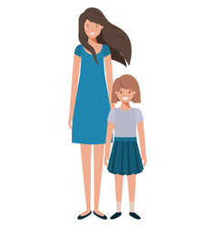 mother and daughter standing avatar character vector image