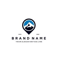 Mountain pin logo design concept vector