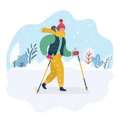 nordic walking woman winter vector image