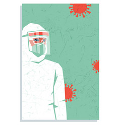 Nurse in personal protective equipment covid19 vector