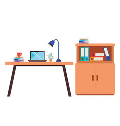office desk with laptop isolated icon vector image