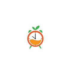 Orange or citrus clock time watch logo design vector