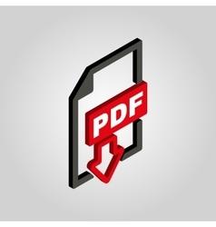 PDF icon 3D isometric file format symbol Flat vector