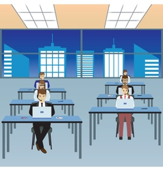 People working in a call center Office vector image