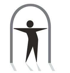 Personage standing in doorway vector