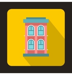 Pink two storey house icon flat style vector image