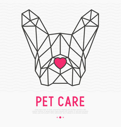 Polygonal head of french bulldog with nose vector