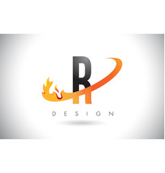 r letter logo with fire flames design and orange vector image