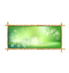 Rectangle green bamboo stems border frame with vector