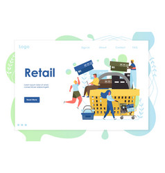 retail website landing page design template vector image