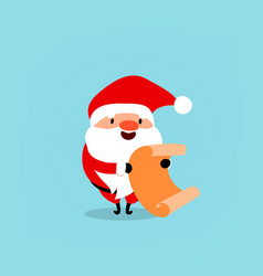 santa claus with scroll leaf gifts cute vector image