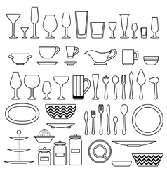 Silhouette of cookware and kitchen accessories vector image