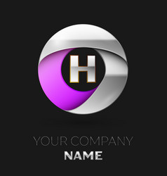 silver letter h logo in the silver-purple circle vector image