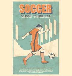 Soccer player shooting a ball vintage poster vector