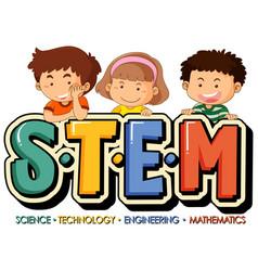 Stem education logo with little kids cartoon vector